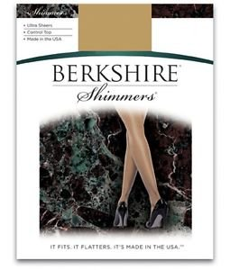 Berkshire Shimmers Ultra Sheer Control Top Pantyhose Silver size 3 #4429