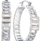 "GUESS Silver-Tone 1.5"" Hoop Earrings with 3 Crystal Baguettes NEW"