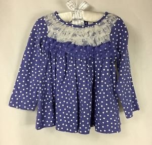 First Impressions Baby Toddler Girls Purple Polka Dot Long Sleeve Shirt NWT 18mo