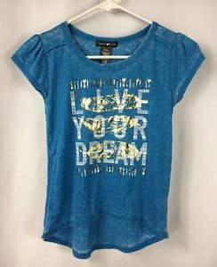 Kandy Kiss Girls Short Sleeve Blue Shirt LIVE YOUR DREAM Hi-Low Shirt NWT Medium