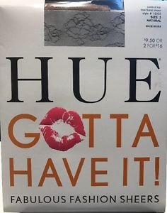 HUE Gotta Have It! Fine Floral Sheer Pantyhose NWT Natural size 3