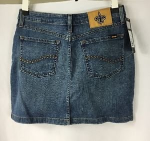 NFL Denim Team Apparel Blitz Mini Jean Skirt New Orleans Saints NWT size 8