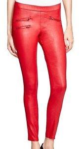 HUE Zippered Glossy Denim Leggings Deep Red NWT size Large
