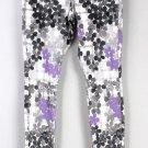HUE Faded Floral Original Denim Leggings Gray Purple NWT