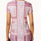 Style & Co Petite Floral Rhinestone Embellished Top Sweet Blossoms Pink