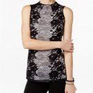 INC International Concepts Petite High-Neck Lace Top Black