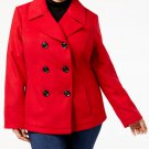 Celebrity Pink Double Breasted Stand Collar Peacoat Lipstick Red