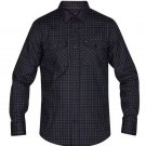 Hurley Men's Dri-FIT Cascade Plaid Button Front Shirt Black NWT size Small
