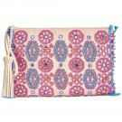 Angel by L. Martino Large Beaded Clutch Bag Multi-Color Pink Beads