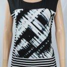 Calvin Klein Mixed Print Top Black White size Medium