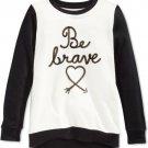 Epic Threads Girls Black Ivory Embellished Long Sleeve Be Brave Shirt NWT Small