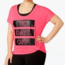 Material Girl Plus Size Active Graphic Top NO DAYS OFF Pink size 1X