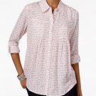 Style & Co Petite Mixed-Print Button-Down Shirt Brilliant Magenta