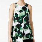 Alfani Petite Leaf-Print Asymmetrical Sleeveless Top Botanical Green Black