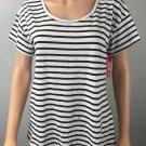 Xhilaration Women's Short Sleeve White Striped Pajama Sleep Top NWT