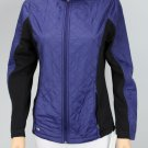 Ideology Colorblocked Quilted Jacket Rich Plum Black