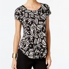 Alfani Petite Printed T-shirt Bold Organic Black