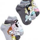 Disney women's Princess 6-pair Pack No-show Socks Heather Gray 9-11