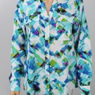 Calvin Klein Printed Roll-Tab Sleeve Blouse Aloe Blue Multi size Small