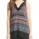 Karen Kane Riviera Stripe Lace Trim Sleeveless Blouse size Large