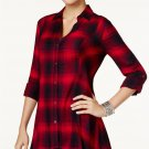 Vintage America Plaid Button Front Swing Shirt Red Black size Small