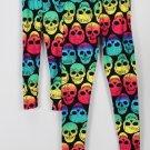 Mommy & Me Matching Leggings Black Multi Rainbow Skulls NWT Womens OS Girls S/M