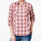 Style & Co Petite Cotton Mixed-Plaid Button-Front Shirt Raspberry