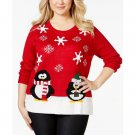 Karen Scott Plus Size Red Holiday Penguins Red 2X