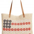 Style & Co Daisy Flag USA Straw Tote Bag