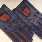 Leather Driving Gloves For Men Italian lamb-skin napa Blue and Brown sheep-skin Size 8,5 inches