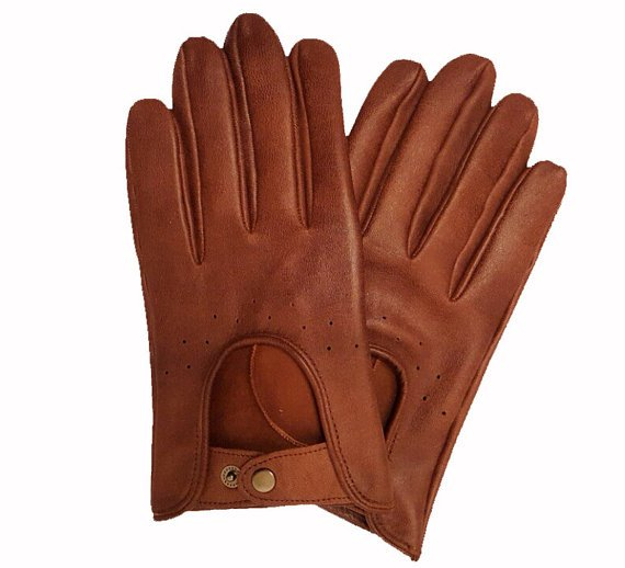 Men's Driving Gloves Italian Lambskin unlined Brown Sheepskin leather gloves Size 7,5 inches M