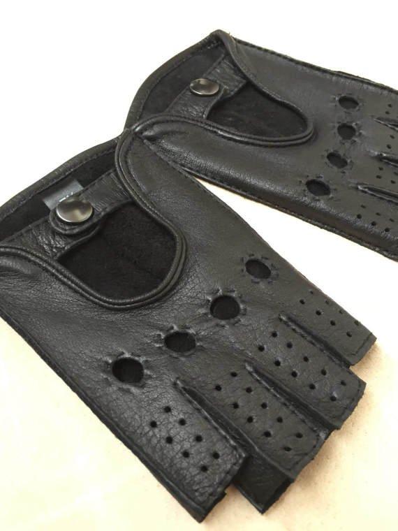 Fingerless black deerskin leather gloves for men-fitnes gloves-sport driving gloves 8 inches S