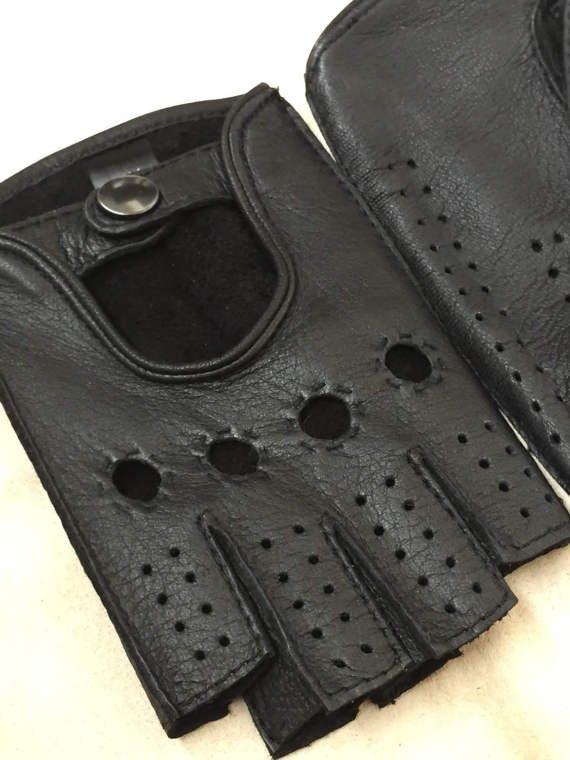 Fingerless black deerskin leather gloves for men-fitnes gloves-sport driving gloves 9 inches M