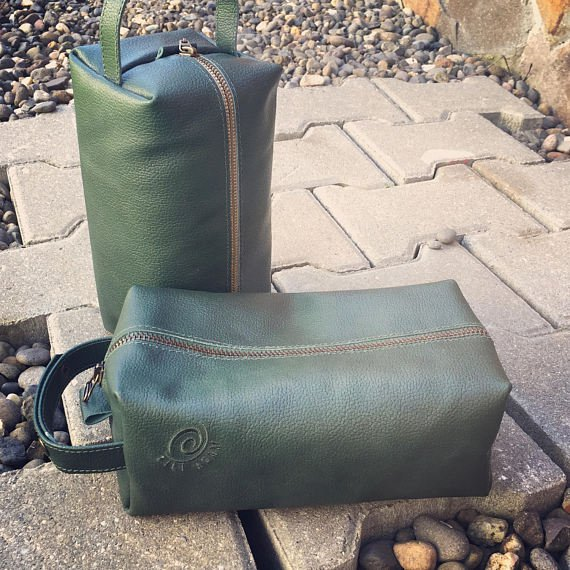 Green Leather toiletry bag, Dopp kit durable leather/ personalized gift/ green leather bag