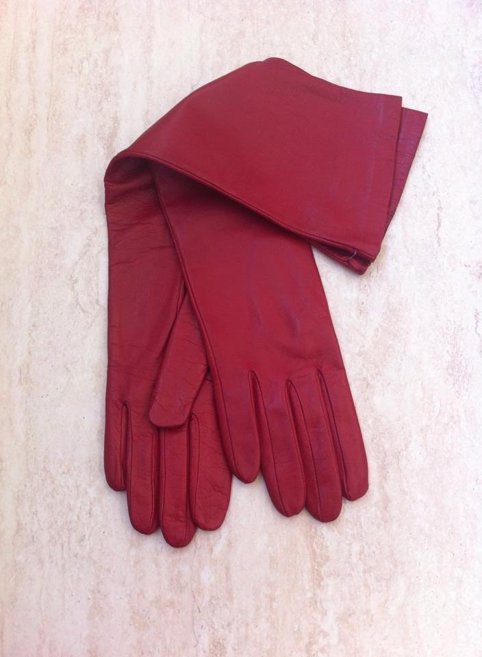 Red Long leather gloves, opera gloves, super soft 100% silk lining, 6,5 inches S, 38 cm
