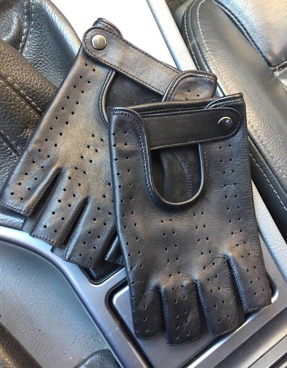 Fingerless leather gloves for men/ lambskin leather gloves/ driving gloves 8 inches M