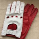 Driving Gloves For Men Italian lambskin Napa Red and White Sheep-skin leather Size 9 inches L