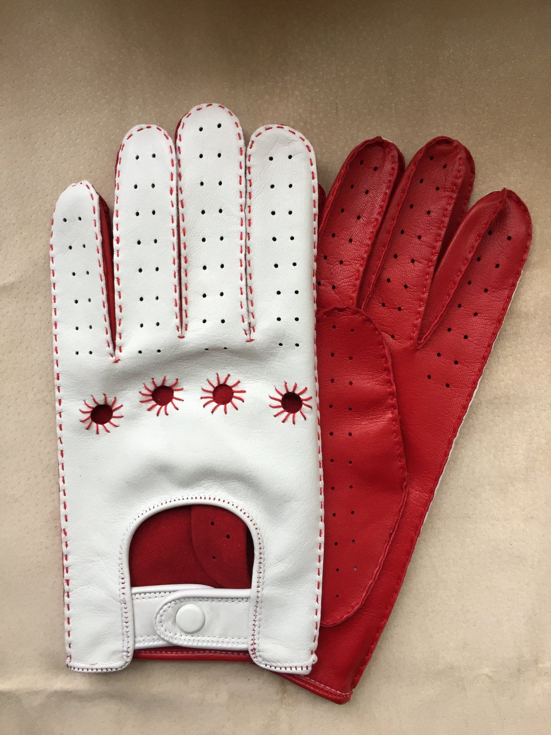 Driving Gloves For Men Italian lambskin Napa Red and White Sheep-skin leather Size 8 inches M
