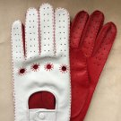 Driving Gloves For Men Italian lambskin Napa Red and White Sheep-skin leather Size 7,5 inches M