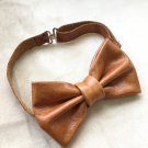 Leather bow tie for men suit accessories groomsmen cognac