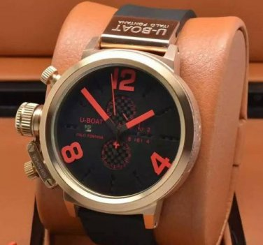Men Watch U1215 Classico Chronograph 50mm Stainless Steel Color Black Red