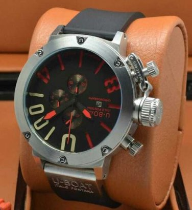 Men Watch U1001 Chronograph Silver Bezel Stainless Steel Case Black Red Dial