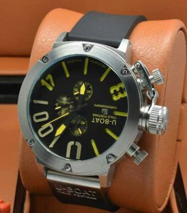 Men Watch U1001 Chronograph 50mm Stainless Steel Case Black Yellow Dial Color