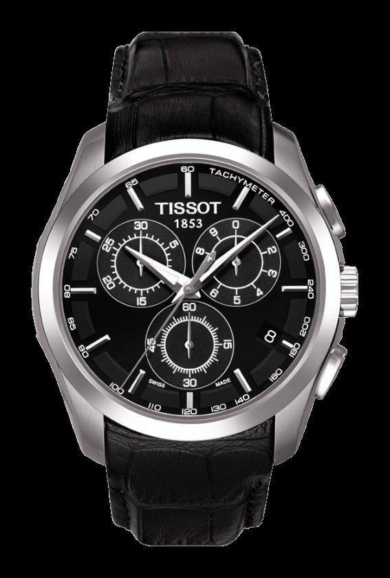 Men Watch Tissot Couturier T035.617.16.051.00 Chronograph Leather Strap Dial Color Black