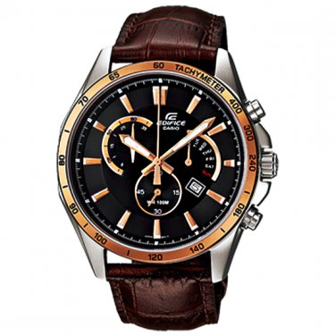 Men Watch Casio Edifice EFR-510L-5AV Chronograph Stainless Steel Leather Strap