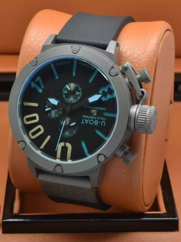 Men Watch U-Boat 1001 Chronograph Stainless Steel Case Color Black/Blue