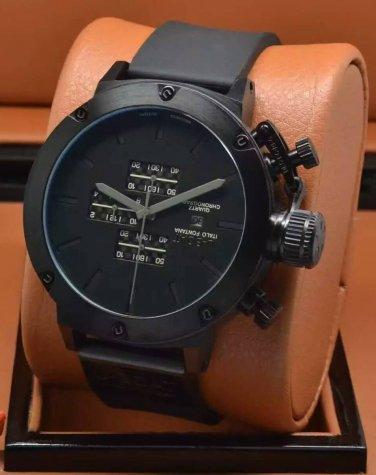 Men Watch U-Boat Nero Chronograph Quartz Black Dial Black Bezel