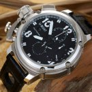 Men Watch U-BOAT Chronograph Silver Bezel Stainless Steel Case Leather Strap