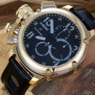 Men Watch U-Boat Chronograph Gold Tone Bezel Stainless Steel Case Leather Strap