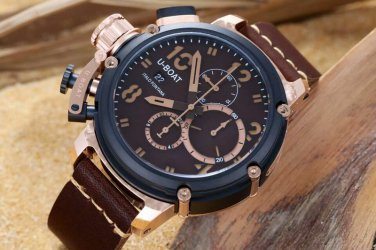 Men Watch U-BOAT  U46 Italo Fontana Chronograph Stainless Steel Case Black Bezel
